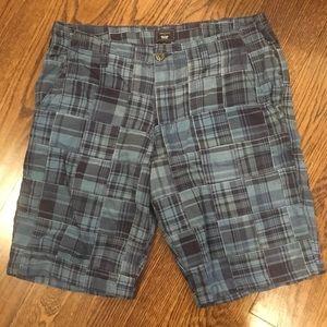 GAP Blue Madras Mens Flat Front Shorts 34